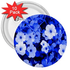 Blue Flowers 3  Button (10 pack)