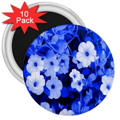 Blue Flowers 3  Button Magnet (10 Pack)
