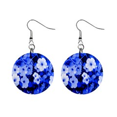Blue Flowers Mini Button Earrings