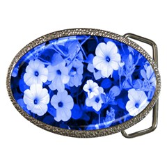 Blue Flowers Belt Buckle (oval)