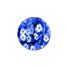 Blue Flowers Golf Ball Marker 4 Pack