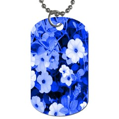 Blue Flowers Dog Tag (two Sided)