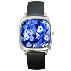 Blue Flowers Square Leather Watch