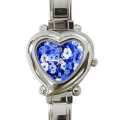 Blue Flowers Heart Italian Charm Watch