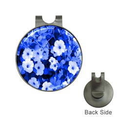 Blue Flowers Hat Clip with Golf Ball Marker