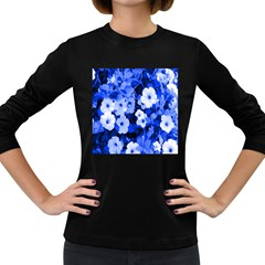 Blue Flowers Women s Long Sleeve T-shirt (Dark Colored)