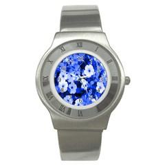 Blue Flowers Stainless Steel Watch (Slim)