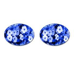 Blue Flowers Cufflinks (oval)