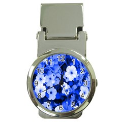 Blue Flowers Money Clip with Watch