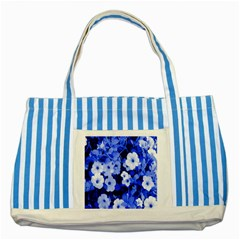 Blue Flowers Blue Striped Tote Bag