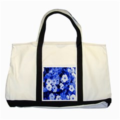 Blue Flowers Two Toned Tote Bag