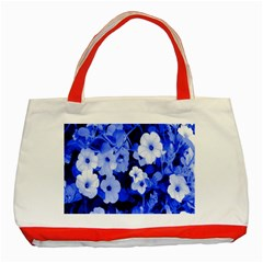 Blue Flowers Classic Tote Bag (Red)