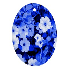 Blue Flowers Oval Ornament (Two Sides)