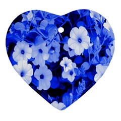 Blue Flowers Heart Ornament (Two Sides)