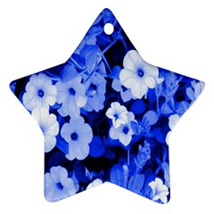 Blue Flowers Star Ornament (Two Sides)