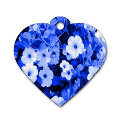 Blue Flowers Dog Tag Heart (Two Sided)