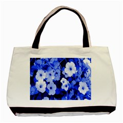 Blue Flowers Twin-sided Black Tote Bag
