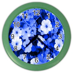 Blue Flowers Wall Clock (Color)