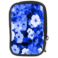 Blue Flowers Compact Camera Leather Case