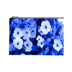 Blue Flowers Cosmetic Bag (Large)
