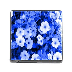 Blue Flowers Memory Card Reader with Storage (Square)