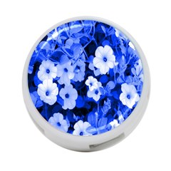 Blue Flowers 4-Port USB Hub (Two Sides)
