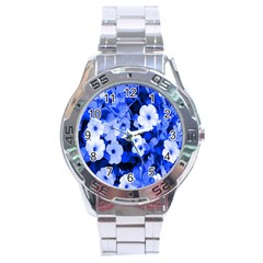 Blue Flowers Stainless Steel Watch