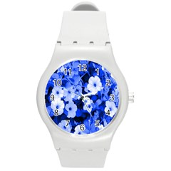 Blue Flowers Plastic Sport Watch (Medium)