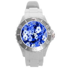 Blue Flowers Plastic Sport Watch (Large)