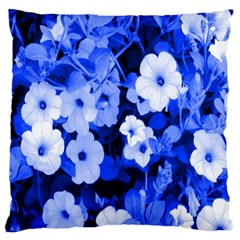 Blue Flowers Large Cushion Case (two Sided)
