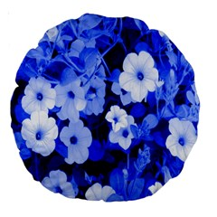 Blue Flowers 18  Premium Round Cushion