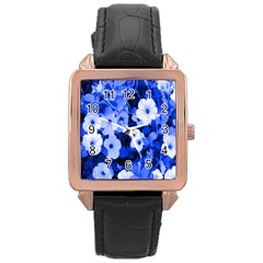 Blue Flowers Rose Gold Leather Watch