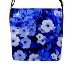 Blue Flowers Flap Closure Messenger Bag (Large)