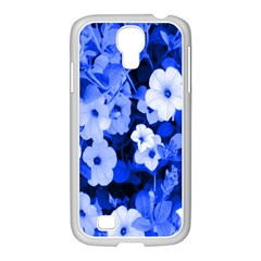 Blue Flowers Samsung GALAXY S4 I9500/ I9505 Case (White)