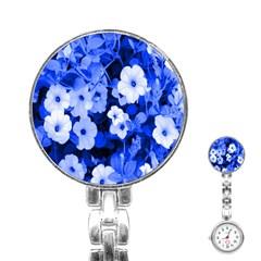 Blue Flowers Stainless Steel Nurses Watch