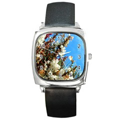 Australia Flowers Square Leather Watch