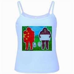 2 Yeh Ren,text & Flag In Forest  Baby Blue Spaghetti Tank