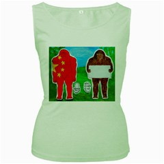2 Yeh Ren,text & Flag In Forest  Women s Tank Top (green)