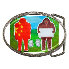 2 Yeh Ren,text & Flag In Forest  Belt Buckle (Oval)