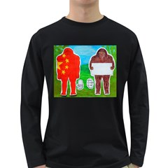 2 Yeh Ren,text & Flag In Forest  Men s Long Sleeve T-shirt (Dark Colored)