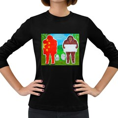 2 Yeh Ren,text & Flag In Forest  Women s Long Sleeve T Shirt (dark Colored)