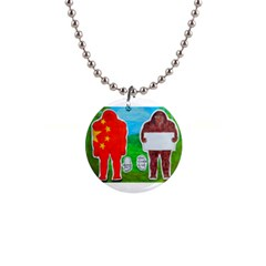 2 Yeh Ren,text & Flag In Forest  Button Necklace