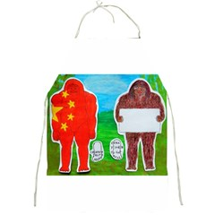 2 Yeh Ren,text & Flag In Forest  Apron