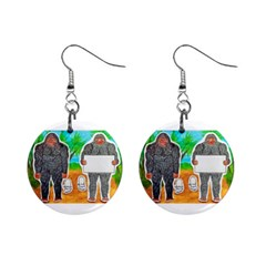 2 Yowie A,text & Furry In Outback, Mini Button Earrings
