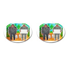 2 Yowie A,text & Furry In Outback, Cufflinks (Oval)