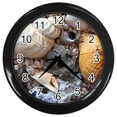 Beach Treasures Wall Clock (Black)