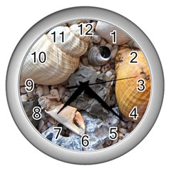 Beach Treasures Wall Clock (Silver)