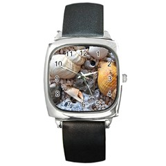 Beach Treasures Square Leather Watch