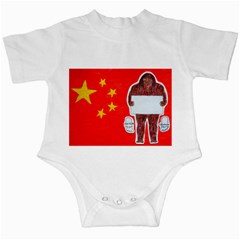 Yeh Ren Text On Chinese Flag  Infant Bodysuit