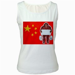 Yeh Ren Text On Chinese Flag  Women s Tank Top (White)
